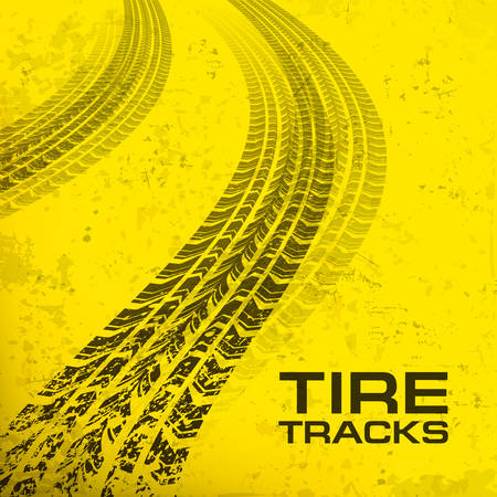 Detail black tire tracks on yellow, vector illustration Stock Vector - 23659940