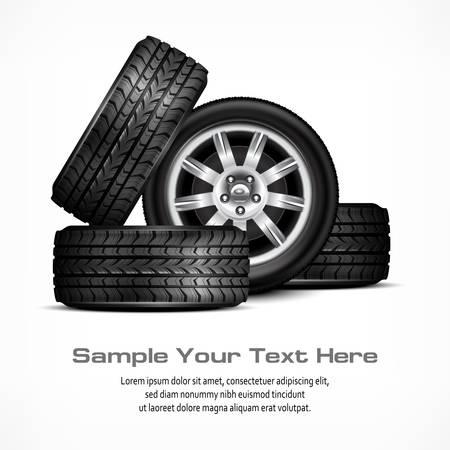 Car black new wheels on white background, vector illustration Stock Vector - 23659944