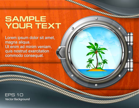 Boat round porthole seascape with palm on wooden & text, vector illustration