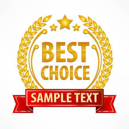 lauwerkransembleem beste keuze met lint op wit, vector illustratie