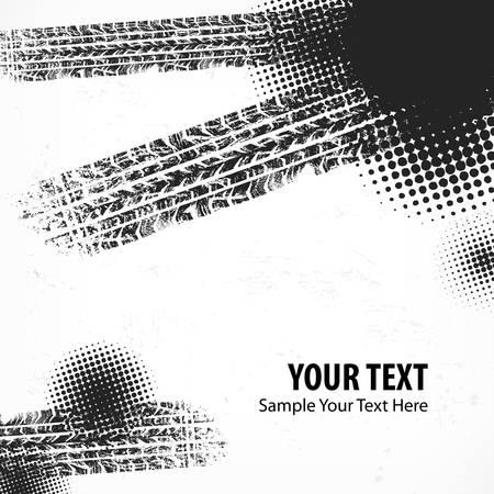 Detail black tire tracks grunge background on white, vector illustration Stock Vector - 23659947
