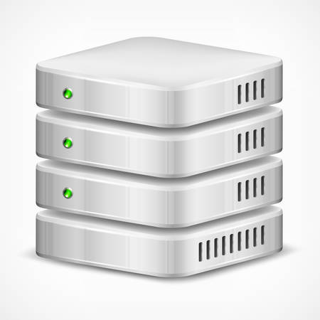 Database, computer hard disk isolated on white, vector illustration 向量圖像