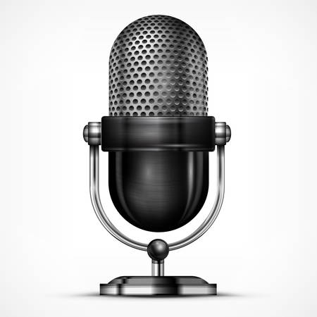 Metallic microphone isolated on white background, vector illustration