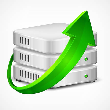 harddisk: Database with green arrow, isolated on white, vector illustration
