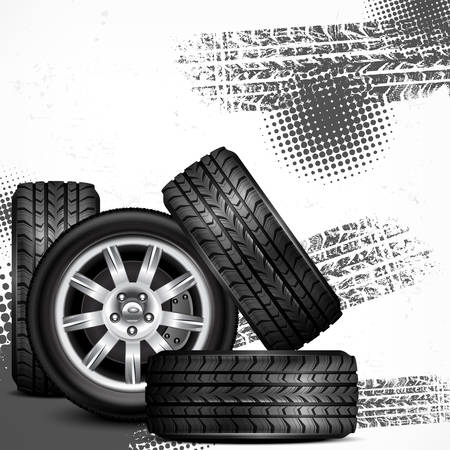 Car wheels and tire tracks grange on white, vector illustration Stock Vector - 23636524