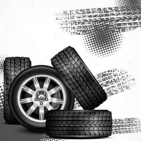 Car wheels and tire tracks grange on white, vector illustration 版權商用圖片 - 23636524