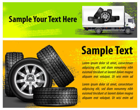Car wheels and automobile & text on background, vector illustration Stock Vector - 24019417