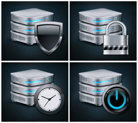 datacenter: Database icons concept, isolated on black, vector illustration
