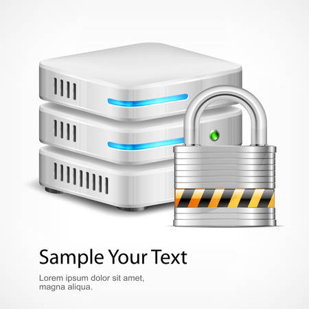 database security: Database security concept, isolated on white, vector illustration Illustration
