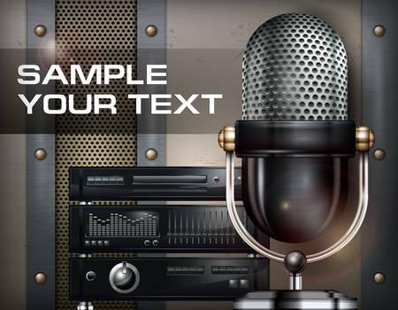 recording studio: Opnamestudio en microfoon op metalen achtergrond, vector illustratie