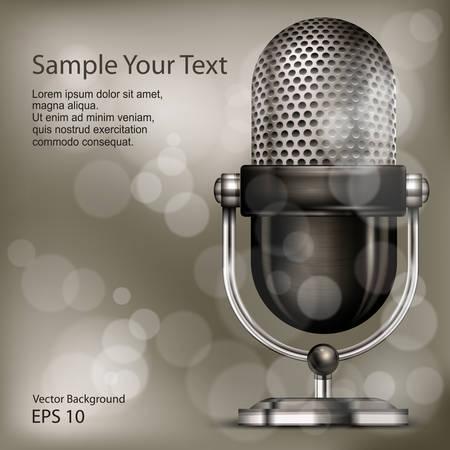 retro radio: Metallic retro microphone on vintage background, vector illustration