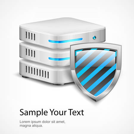 Database protection concept, isolated on white, vector illustration Vector