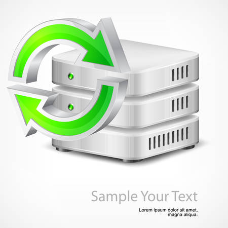 Database with green round arrow, isolated on white, vector illustration Stock Vector - 24024984