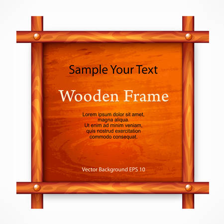Wooden brown board with frame on white, vector illustration