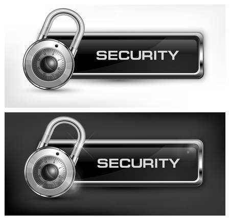secrecy: Metallic icon with round padlock on black   white, vector illustration Illustration