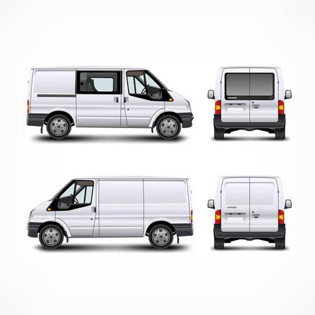 minivan: Minivan car, white bus isolated on white, vector illustration
