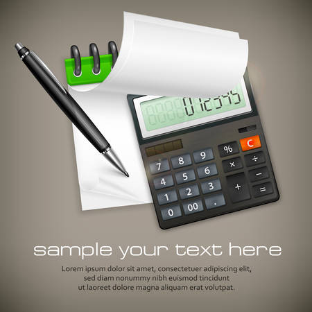 ballpoint: Calculator & notepad with ballpoint pen, business concept, vector illustration Illustration