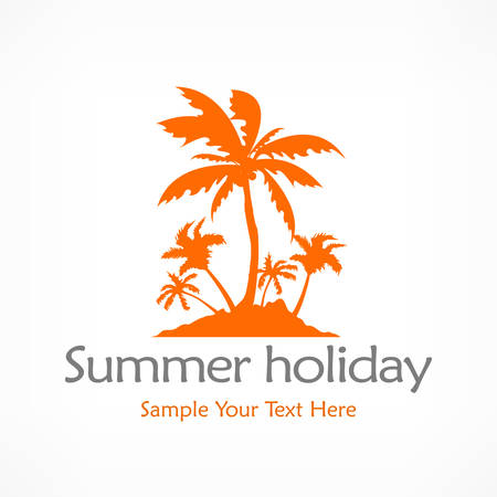 Summer palms, tropical island in orange, vector illustration