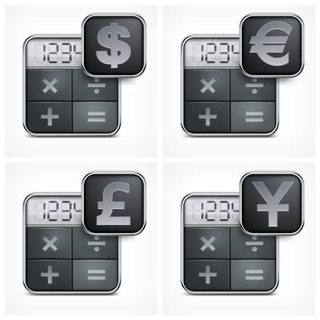 calculator money: Calculator icons with money symbol on white, vector illustration Illustration