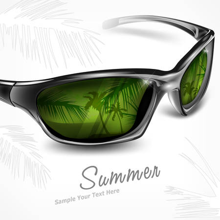 sunglasses reflection: Sunglasses with summer tropical island reflection on white, vector illustration