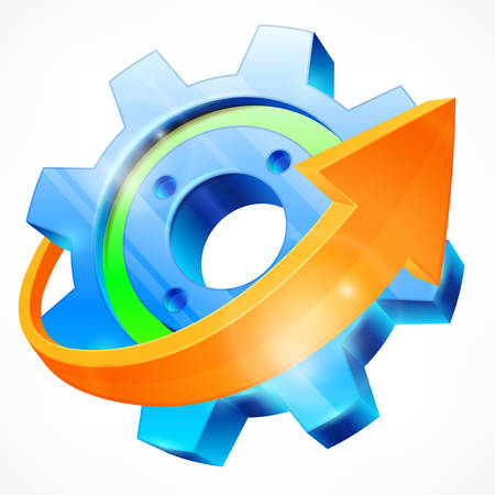 orange industry: Blue gear with arrow isolated on white, mechanical vector illustration