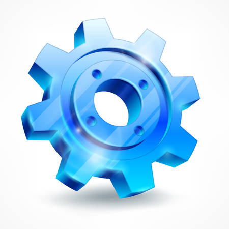 Blue gear isolated on white, mechanical vector illustration Vector