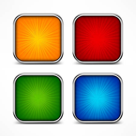 square buttons: Colored glassy square buttons on white