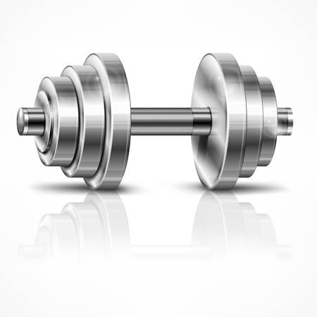 lifting weights: Metallic dumbbell