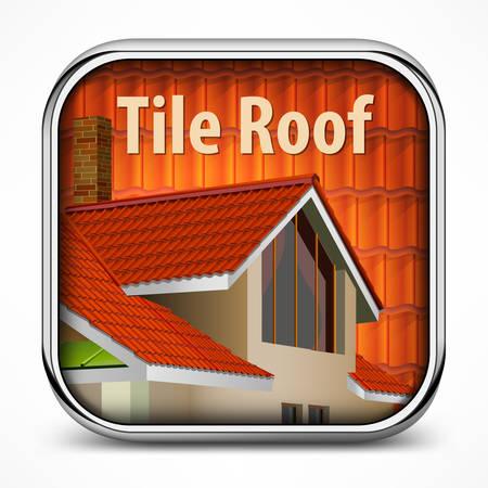 tile roof: Icona quadrata con tetto di tegole rosse illustrazione Vettoriali