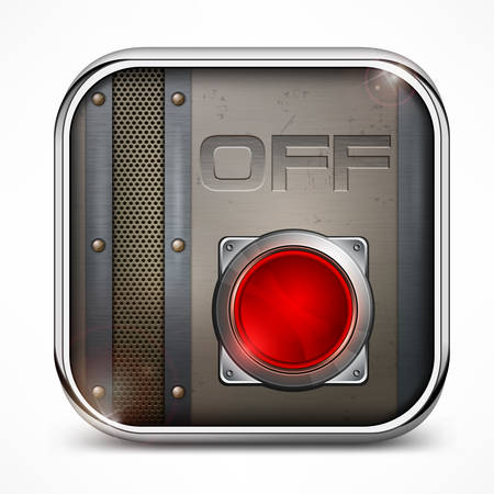 Metal square icon with off switch button Vector