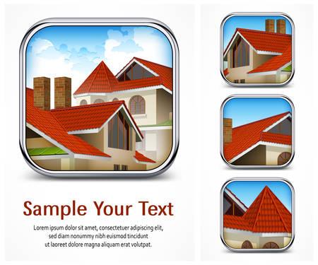 tile roof: Icona quadrata impostato con tetto di tegole rosse Vettoriali