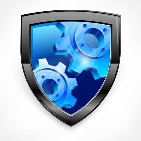 Shield with blue gear isolated on white Vector