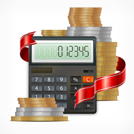 calculator money: Calculator & coins with ribbon isolated on white background, vector illustration