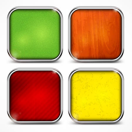 Set of metal square color icons on white, vector illustration Vector