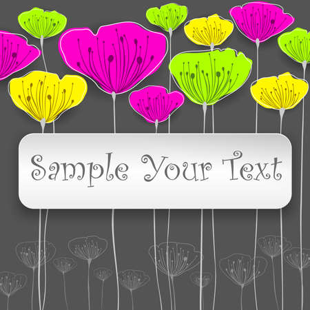 Stylized colorful flowers card with text, vector illustration Vector