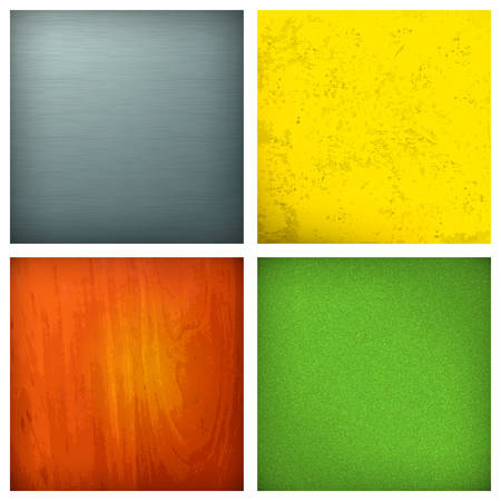 Set of backgrounds, metallic, wooden, fabric and grunge, vector illustration