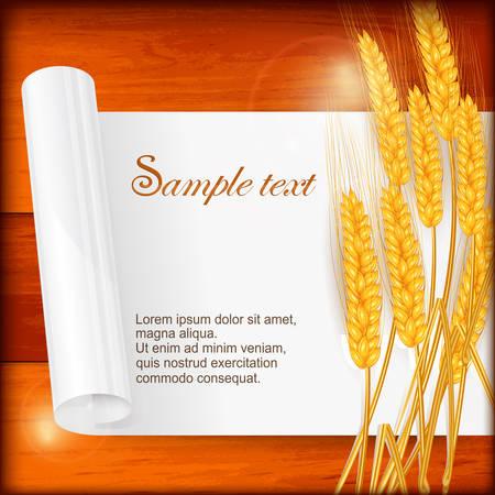 agrario: Espiga de trigo madura con hoja de papel sobre madera, ilustraci�n vectorial Vectores