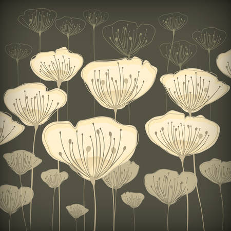 Stylized beige flowers on pastel card, vector illustration Vector
