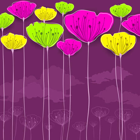 Stylized colorful flowers card, vector illustration Vector