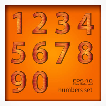 Set of number on wooden background, vector illustration Vector
