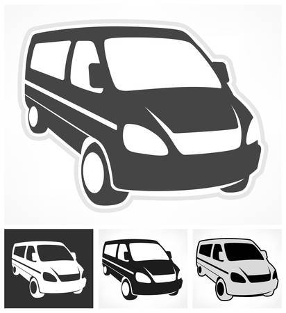 Set of vans on white, design element, vector illustration Vector