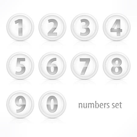 Set of buttons with number on white, vector illustration Vector