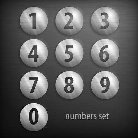 Set of buttons with number on grey, vector illustration Vector