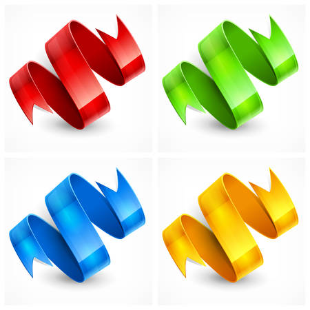 four colored ribbons on white background