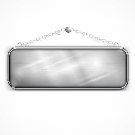 nameplate: Iron sign hanging with chain on white Illustration