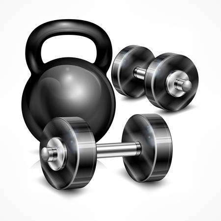 lifting weights: Metallic kettle bell and two dumbbells on white, vector illustration Illustration