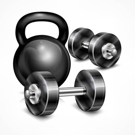 Metallic kettle bell and two dumbbells on white, vector illustration Illustration