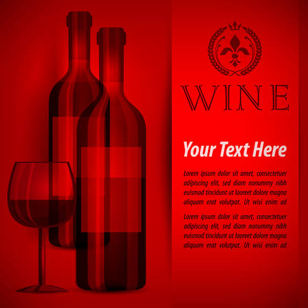 Bottles wine and glasses on red and text, vector illustration