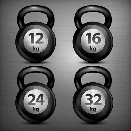 Four metallic kettle bells different weights on dark, vector illustration