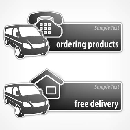 Van promotion banner with signs, delivery concept, vector illustration